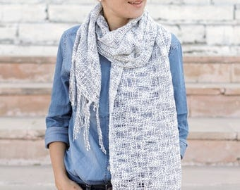 White gray knitted scarf, handmade scarf, narrow scarf, cotton silk scarf, long scarf, scarf for woman, unisex scarf, soft scarf, long scarf