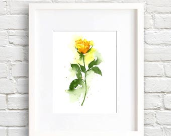 Yellow Rose - Flower - Yellow Rose Art Print - Flower Wall Decor - Floral Watercolor Painting