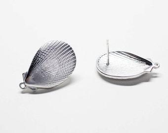 E0219/Anti-Tarnished Matte Rhodium Plating Over Brass +Sterling Silver Post/Large Shellfish Stud Earrings/14.5x22.5mm/2pcs