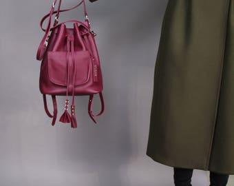 Purple leather bucket bag | bucket bag | leather bucket bag | leather backpack | leather purse | for her | navy blue leather | gift | Cherry