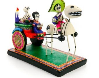 Dia De Los Muertos Clay Folk Art Horse & Cart Day Of The Dead Skull Folk Art