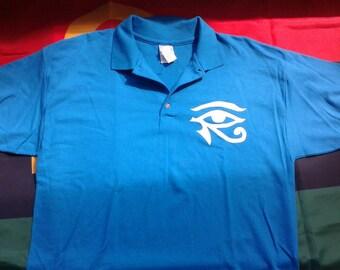 Men's Size Large Blue Eye of Horus Polo shirt
