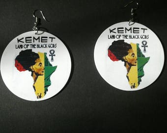 Kemet Nefertiti Land of The Black God's Round Ankh Earrings