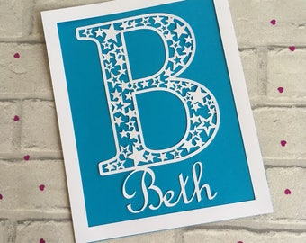 Personalised Initial Paper Cut Wall Art, Baby Gift, Christening Gift, Baby  Girl Gift Part 89