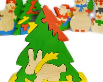 Christmas hare  - Learning Toy - Montessori toddler toy - Toddler birthday gift - Wooden toy - Educational toy