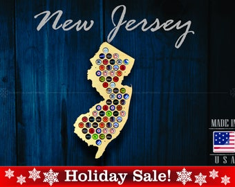 New Jersey Beer Cap Map NJ - SALE! - Unique Christmas Gift - Beer Cap Holder Beer Cap Display Gift for Him Wedding Gift Fathers Day Birthday