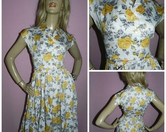 15% off Vintage 50s Yellow Grey ROSE print Floral Full skirt TEA Dress PROM Party 10 S 1950s Wedding