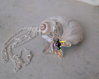 Starfish Necklace, Sterling Silver Seahorse Necklace, Black Fresh Water Pearls, Sterling Silver chain, Swarovski Crystal