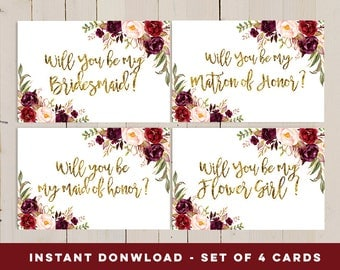 Will You Be My Bridesmaid Printable set, Gold bridal proposal card, Flower Girl, Maid of honor, Matron Of Honor, Printable Set Wedding Card