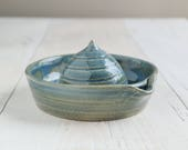 Handmade Citrus Squeezer - Blue Stoneware Pottery Lemon Squeezer - Ready to Ship