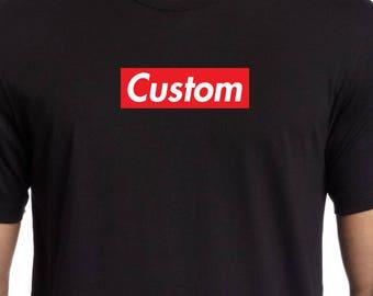 Custom (your word or name) SUPREME like BOX LOGO shirt tee (White Gray Black S-4XL)