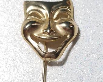 Vintage Stick Pin Comedy Mask Goldtone