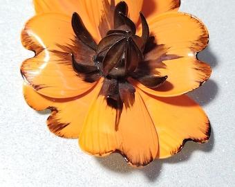 Vintage Large Enamel Orange and Brown Flower Pin Brooch Beautiful!