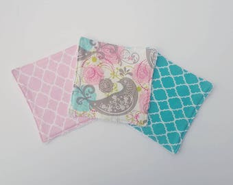 Teal and Pink Wash cloths- set of 3, baby wash cloths for girl, baby shower gift, cloth wipes girl, reusable baby wipes, bath accessories