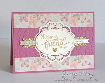 Handmade Feminine Friendship Card