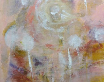 White flowers -abstract painting on paper, acrylic painting, abstract flowers,