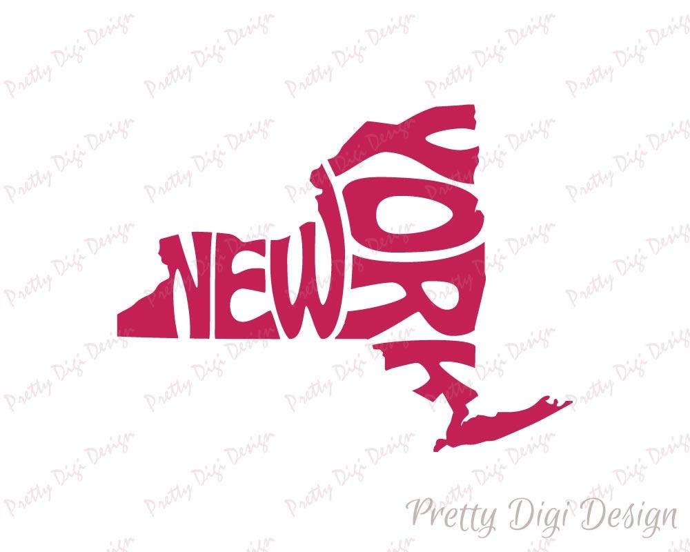 Digital New York Word Art New York Jpg Png Eps Svg Dxf New - New york map eps