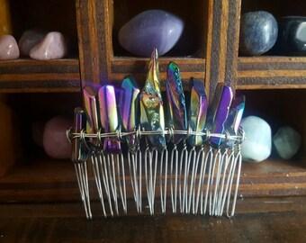titanium aura quartz gemstone hair comb, boho bridal headpiece, fairytale gift, wedding hair comb, mermaid hair accessories, festival hair