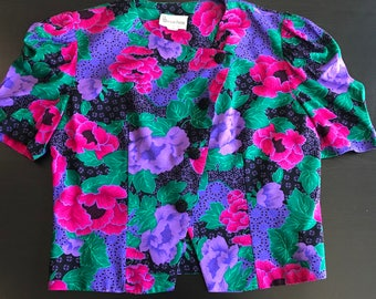 Vintage Floral Multi Color Blazer Womens 12 P Short Sleeve Asymmetrical Button Down Damon Petite ILGWU Union Made in USA 70s 80s 90s