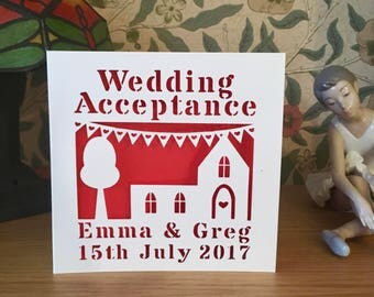 Wedding Acceptance Card - Papercut - Personalised - Church - Gay Wedding Card - Lesbian Wedding Card - Personalized Card