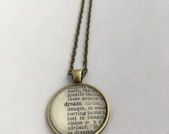 DREAM Vintage Dictionary Word Pendant