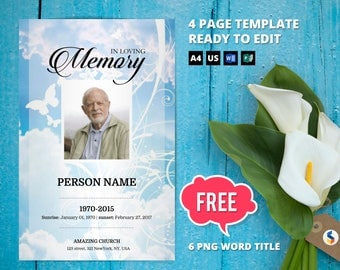 SKY AND BUTTERFLY   Funeral Program Template, Obituary Program, Memorial Program Template, Microsoft Word and Publisher Template