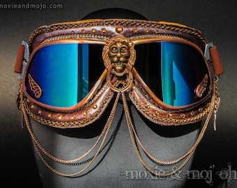 "Burning Man Goggles, Dust Goggles, Playa Goggles, Steampunk Aviator Goggles: ""Colors of Sedona"" ~ perfect for the Playa!"
