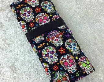 Mexican Skulls Makeup Pen Pencil Roll Crochet Knitting needles tool holder case  Handmade in England
