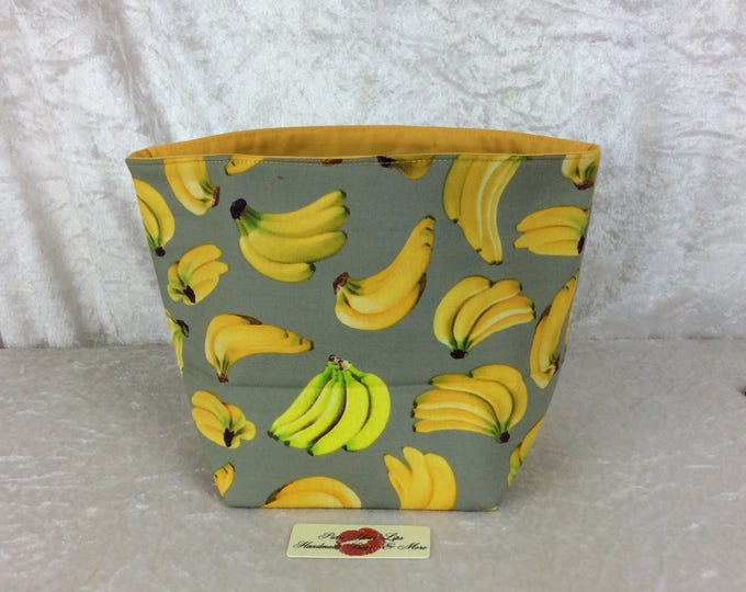 Bananas Fabric basket tall  reversible organiser bin storage. Handmade in England