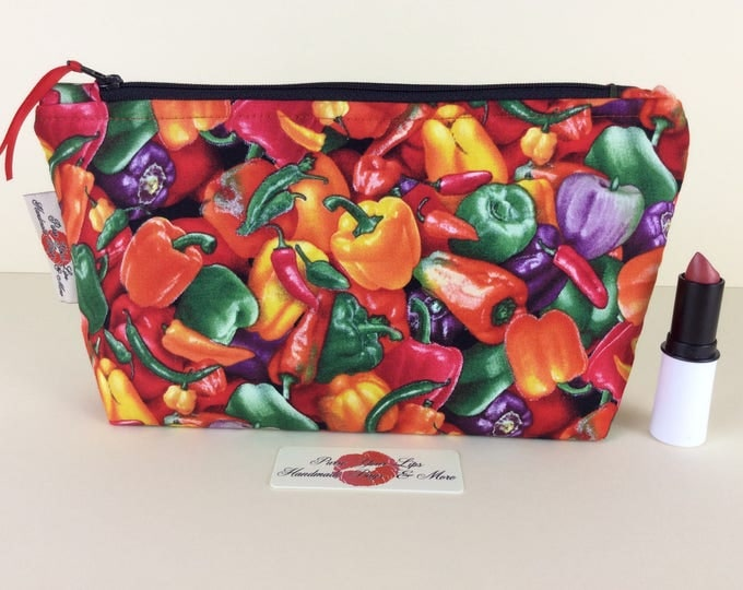 Chillis and Peppers Zip Case Bag Pouch fabric Handmade in England