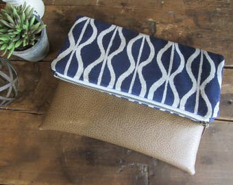 Large Fold Over Clutch Bag - Navy Zig Zag with Tan Vegan Leather Bottom, Foldover Zipper Clutch, Navy Clutch Bag