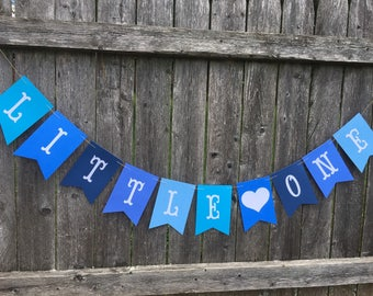 Little one banner. Boy baby shower. Welcome little one banner. Blue baby shower.