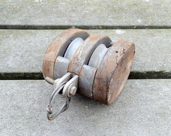 antique wooden pulley, small double pulley, industrial decor, display piece, vintage home decor, rustic, photo prop