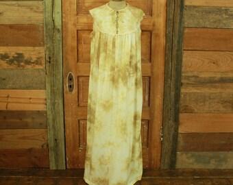 SALE vintage 1960s gold rainbow hand tie dyed long slip dress gown maxi lace details M L