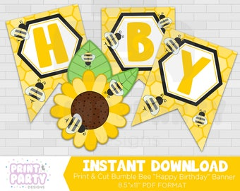 Printable Bumble Bee Happy Birthday Banner, Honey Bee Party Decorations, Bee Party Printables, Honey Bee Banner, Instant Download