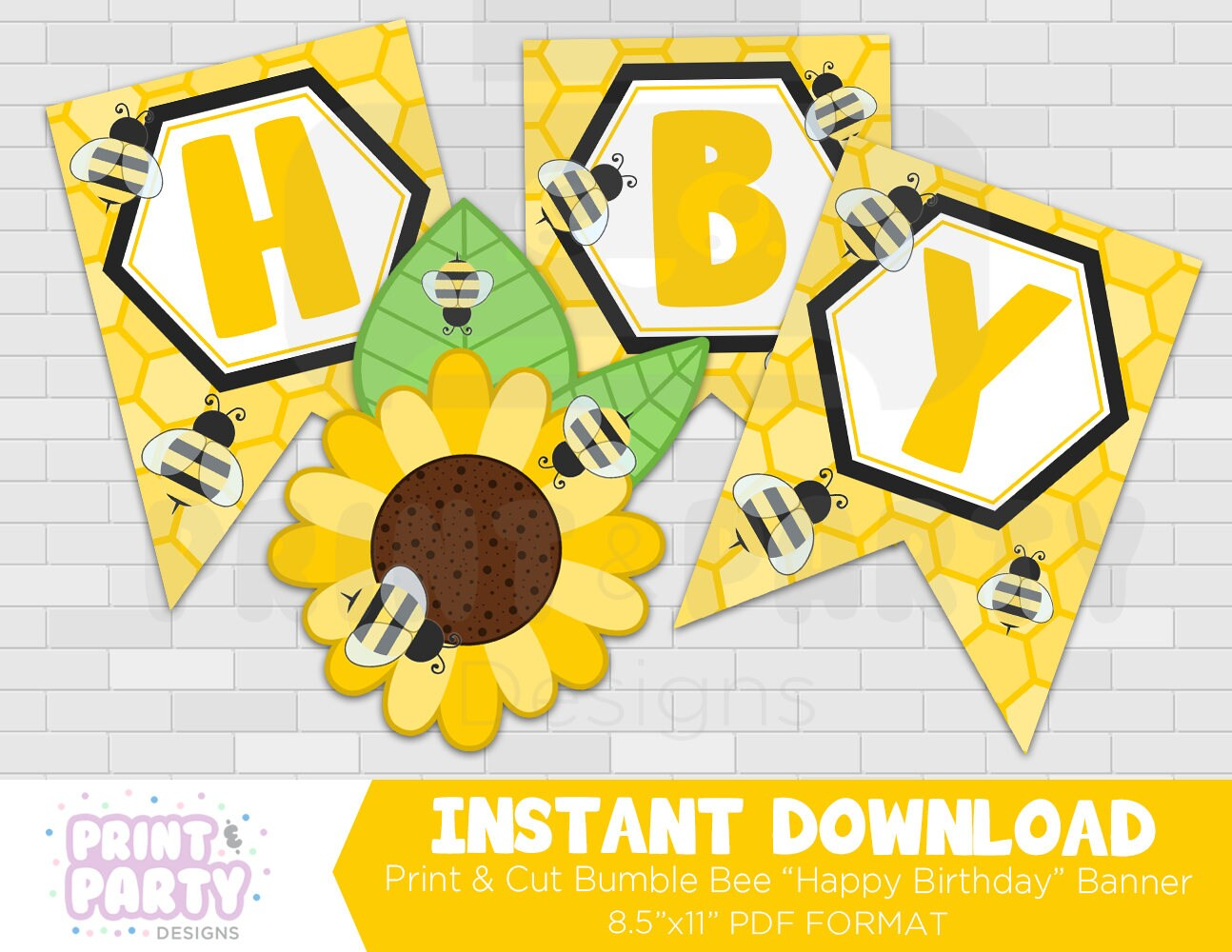 printable bumble bee happy birthday banner honey bee party