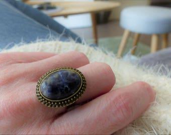 Woman adjustable sodalite ring