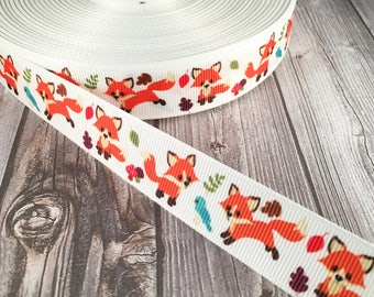 "Fox ribbon - 7/8"" grosgrain ribbon - Animal ribbon - White or black - Crafting ribbon - Animal bow DIY - Do it yourself - Craft ribbon"