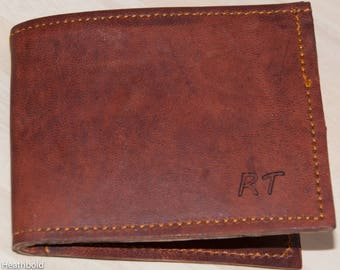 Heathbold Classic Wallet. Engraved with your message or monogram. Hand made. Premium full grain tobacco brown leather