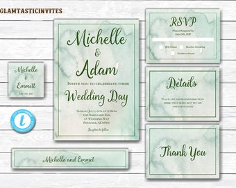 Watercolor Wedding Invitation, Watercolor Wedding Invitation Template, Wedding Template, Editable Template, Green Wedding Invitation, DIY