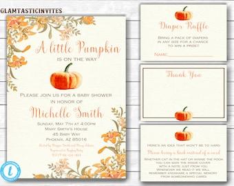 Pumpkin Baby Shower Invite, Little Pumpkin Baby Shower Invitation, Fall Baby  Shower, Baby