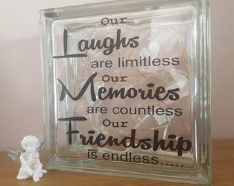Our laughs are limitless glass block. Friendship Gift. Gifts for Her .