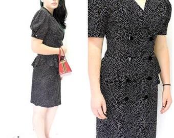 80s  black / white secretary dress / size 6 / 7 /  classic 1980s style polka dot dress / USA made / retro career dress / SunnyBohoVintage