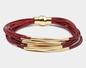 Burgundy & Gold Curve Tube Multi Strand Magnetic Bracelet