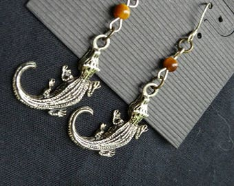VERY simple Tigers Eye alligator / crocodile earrings with Sterling Silver