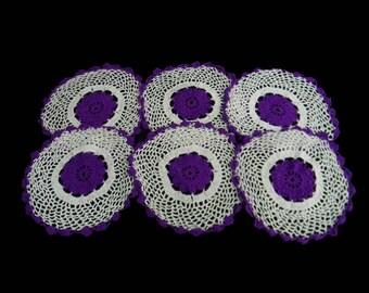 "Mexican handmade doilies, set of 6, 10""diameter"