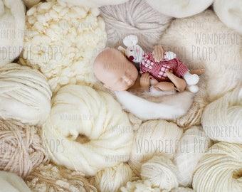 Digital Newborn Photography Prop Backdrop - Soft wool balls nest - Natural 2 JPGs