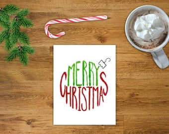 Merry Christmas Ornament Card | Holiday Card | Printable Christmas Card