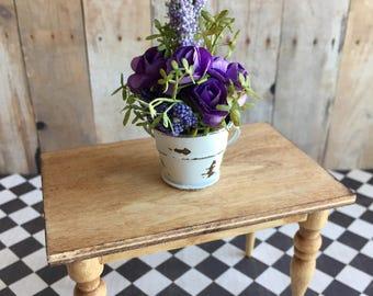 Miniature purple flower arrangement, dollhouse flower bouquet, 1:12 flowers