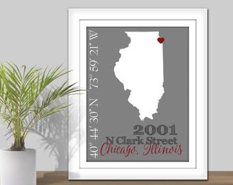 State Coordinates Address Map - PRINTABLE State Map Wall Art. State Coordinate Map. Gift for couple. New home gift, First Home, Housewarming